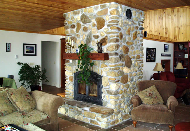Earth Berm Interior Fireplace