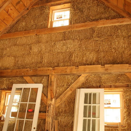 Straw Bale Studio Interior Tall